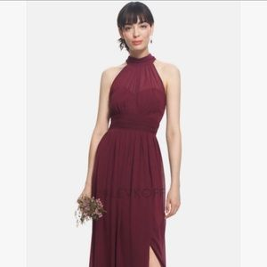 Levoff Champagne High Neck Bridesmaid Gown